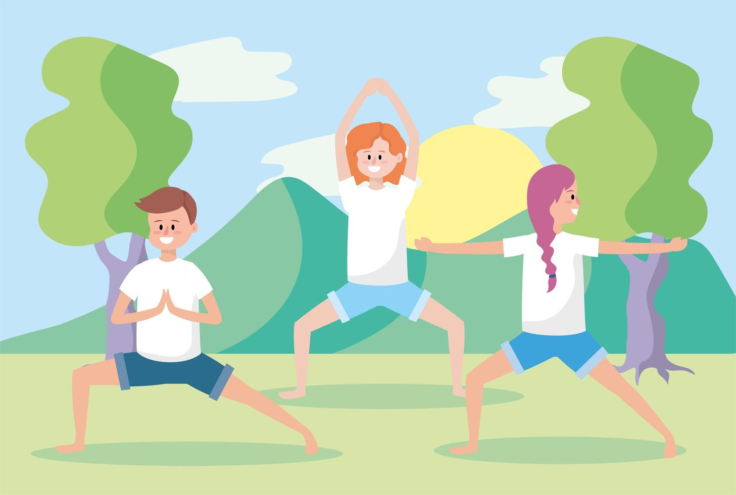 jongeren doen yoga buitenshuis vector