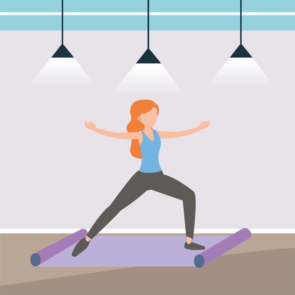 vrouw doet yoga op een mat vector