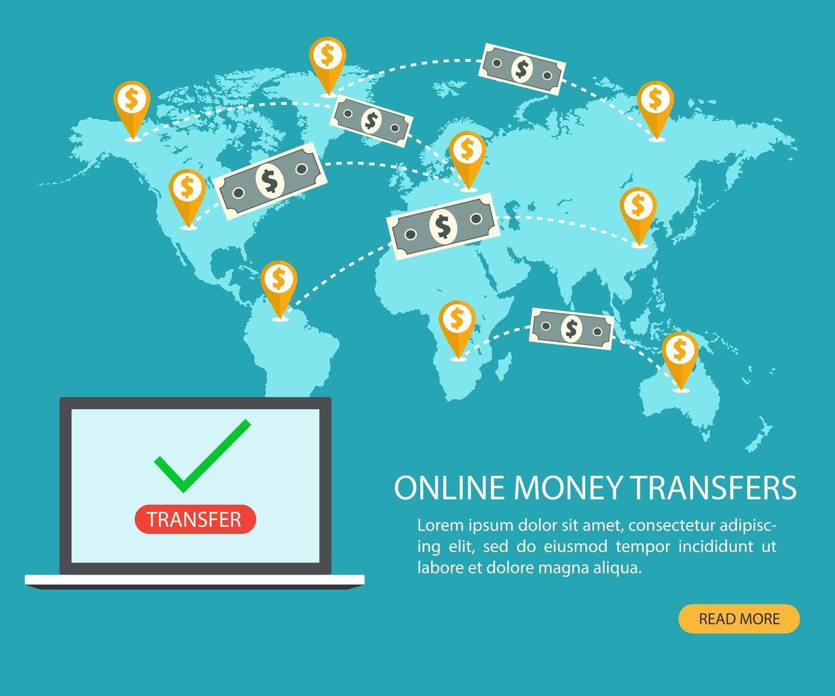 online geldoverdracht en e-banktransactie vector