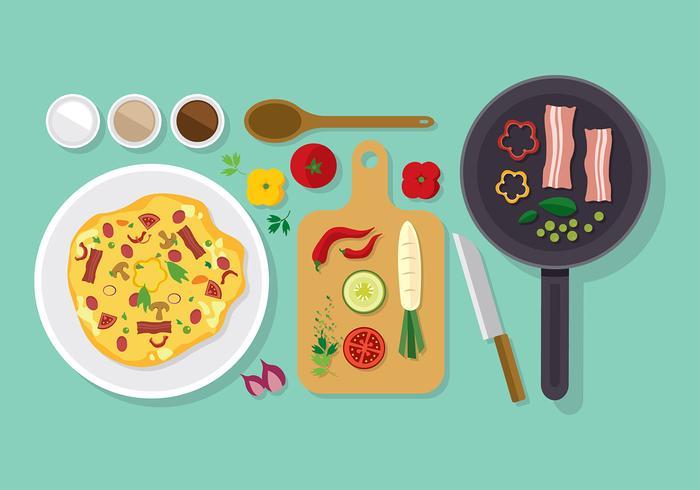 Omelet Keuken Set Gratis Vector