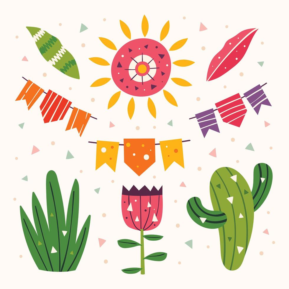 mexico schattige plant en partij elementenset vector