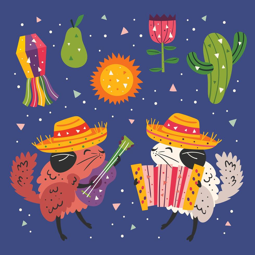 mexico kleine schattige chinchilla's en elementen instellen vector