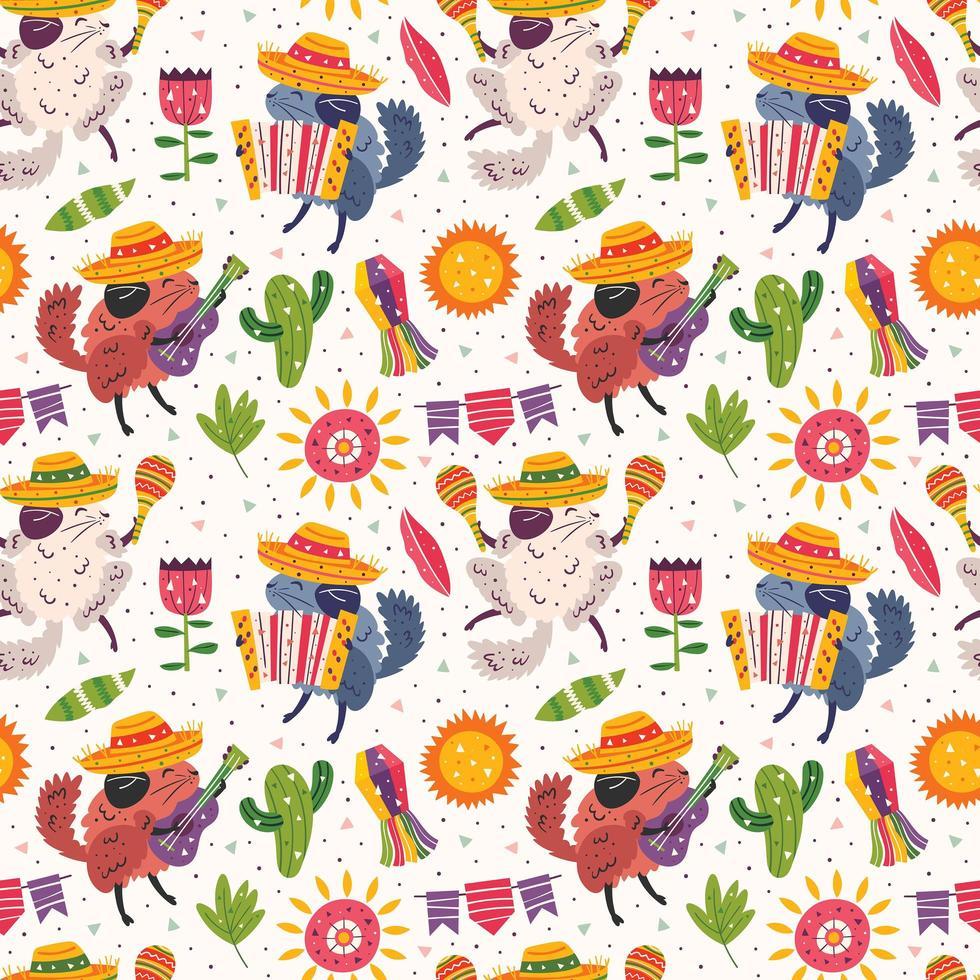 schattige chinchilla's in sombrero's met instrumentenpatroon vector