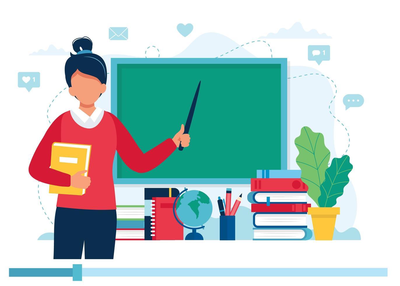 vrouwelijke leraar met boeken en schoolbord, videolessen vector