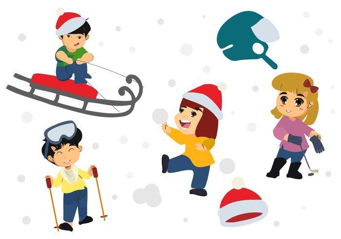 Gratis Gelukkige Kinderen Spelen In De Winterseizoen Vector