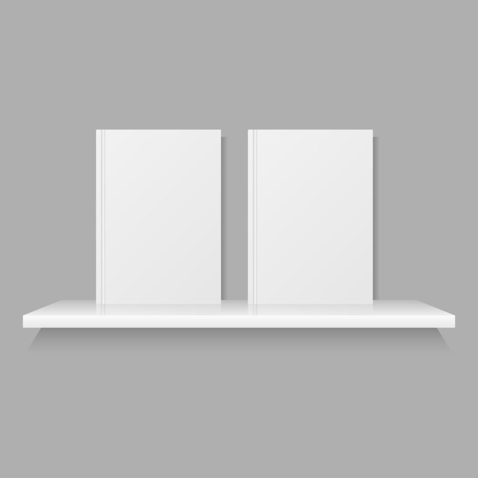 boekenplank mock-up met twee boeken vector