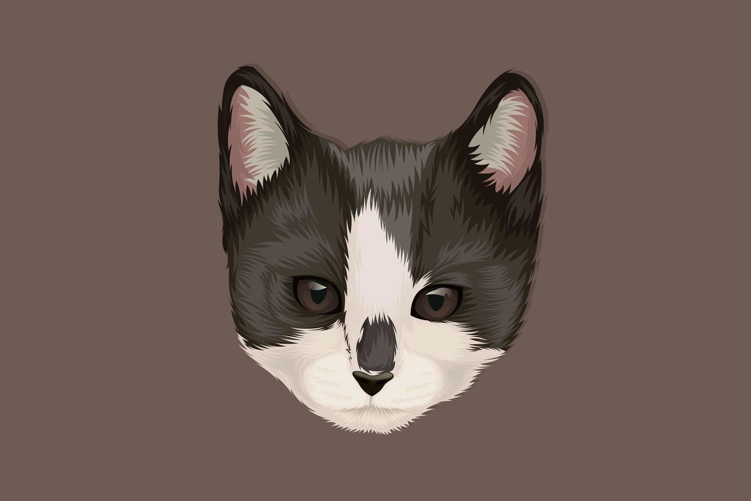 kat hoofd zwart-wit hand tekenen vector