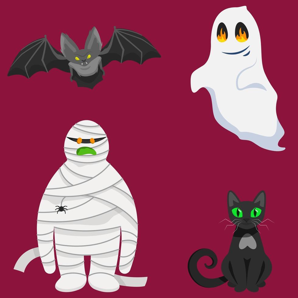 set van halloween-tekens vector