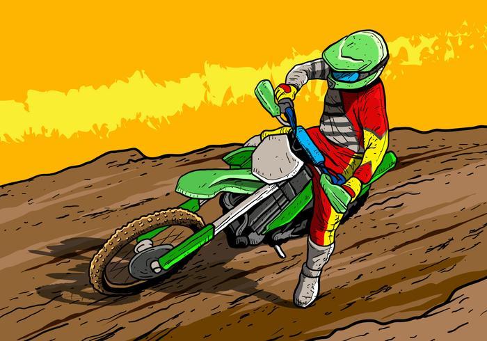 Motorfietsrijder van vuil fietsen vector