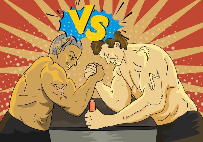 Arm Wresting Met Versus Brief Illustratie vector