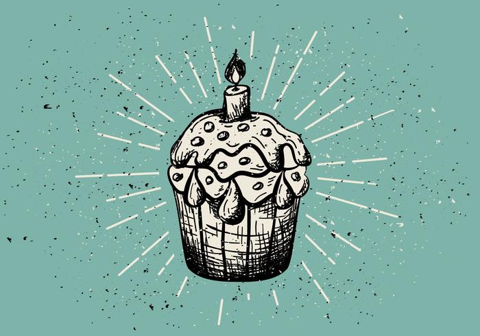Gratis Vintage Handgetekende Muffinachtergrond vector