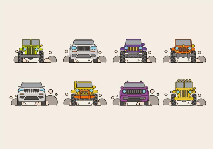 Vectorillustratie van SUV-auto of jeep vector