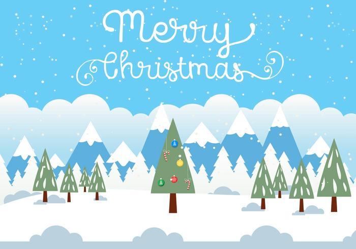 Gratis Vector Kerst Landschap Illustratie