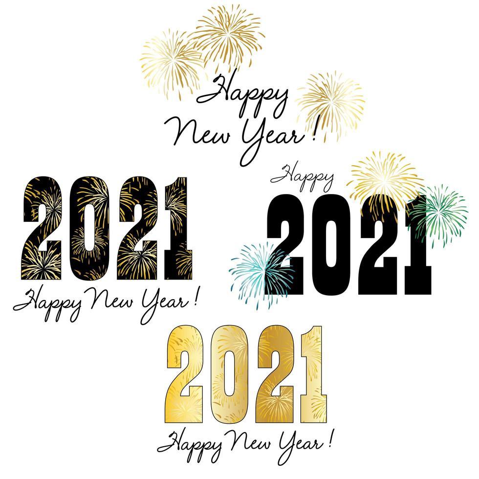 2021 nieuwjaarstypografie en afbeeldingen met vuurwerk vector