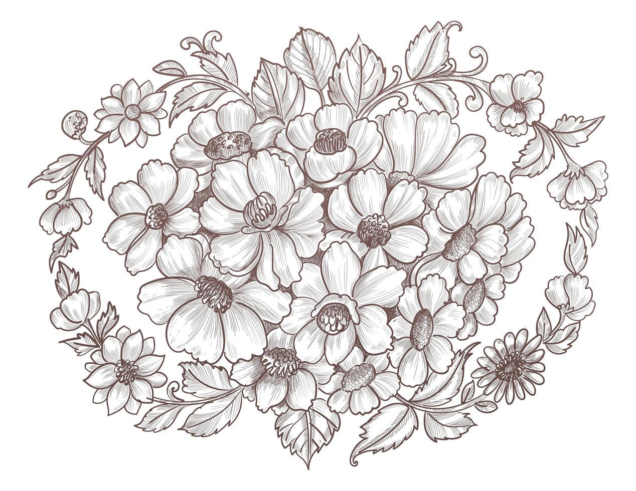 hand getrokken bloemenschetsontwerp vector
