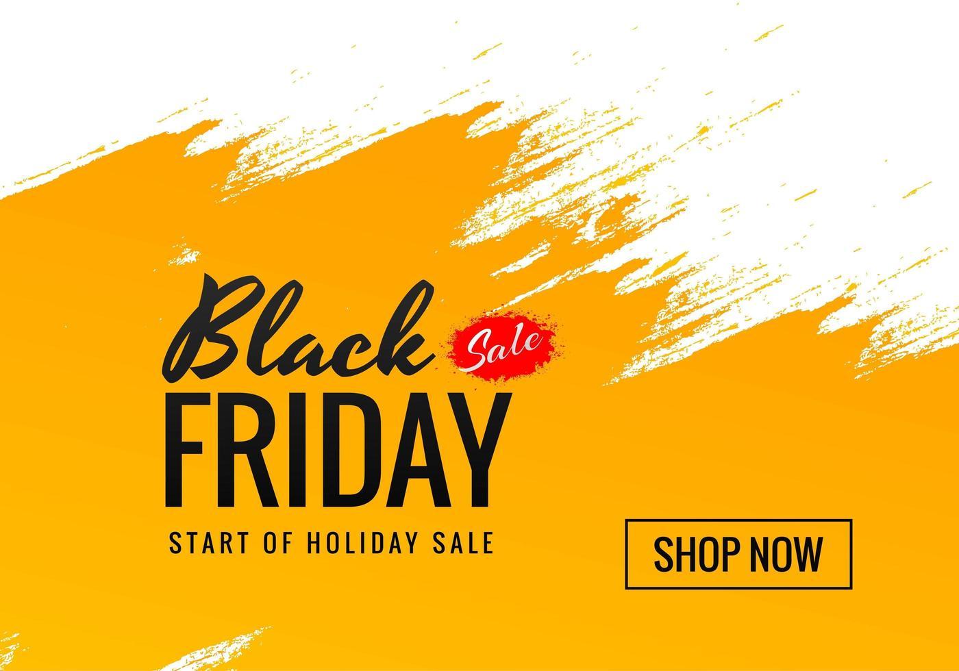 oranje penseelstreek zwarte vrijdag verkoop ontwerp vector
