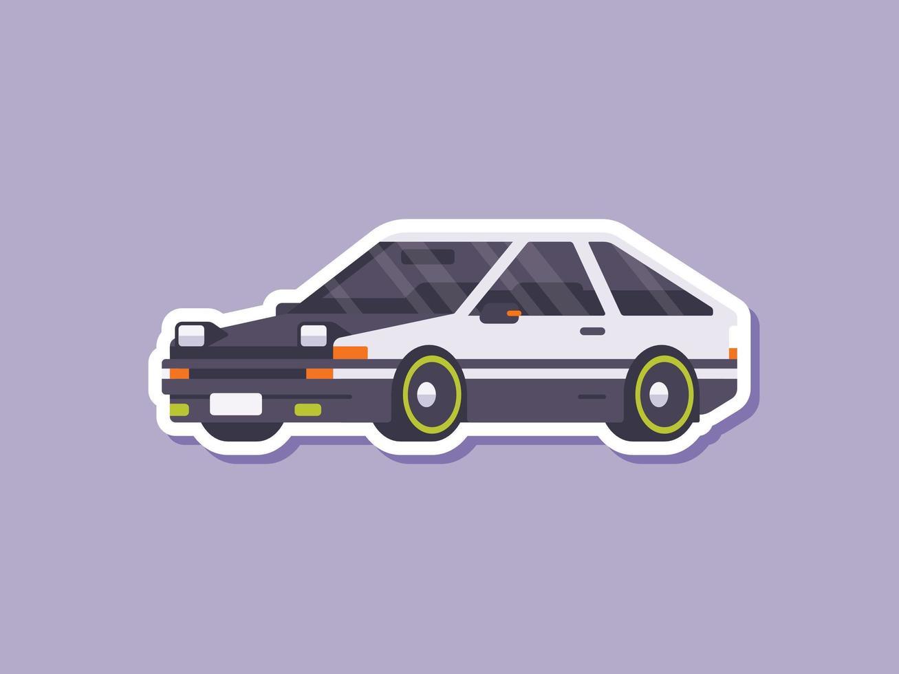 drift auto sticker in vlakke stijl vector