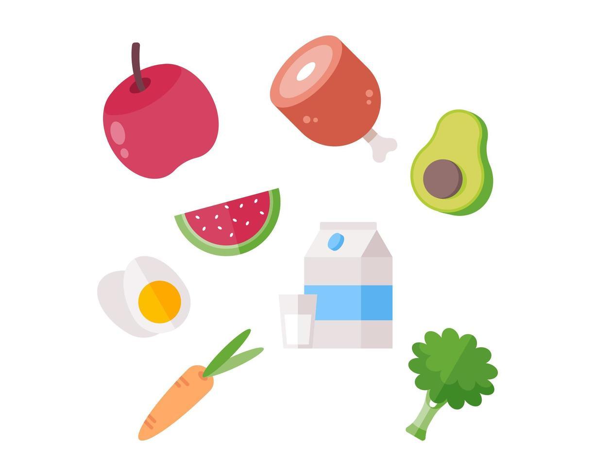 gezonde voeding icoon collectie vector