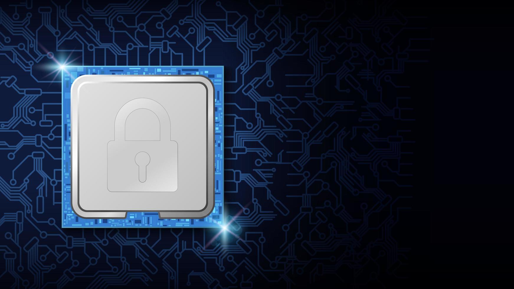 cyberveiligheidsslot op cpu-chip elektronisch ontwerp vector