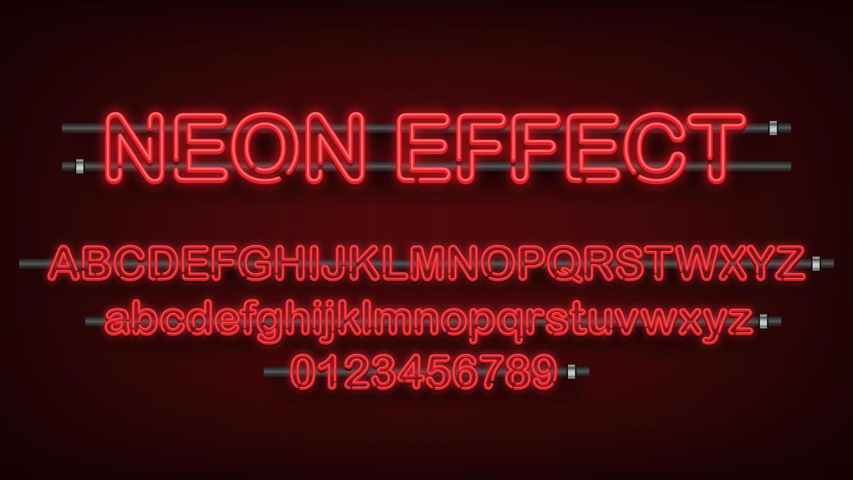 rood neonlicht engels alfabet en cijfers vector