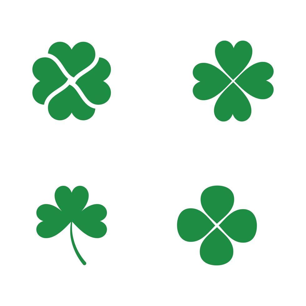 groene klaver blad pictogramserie vector