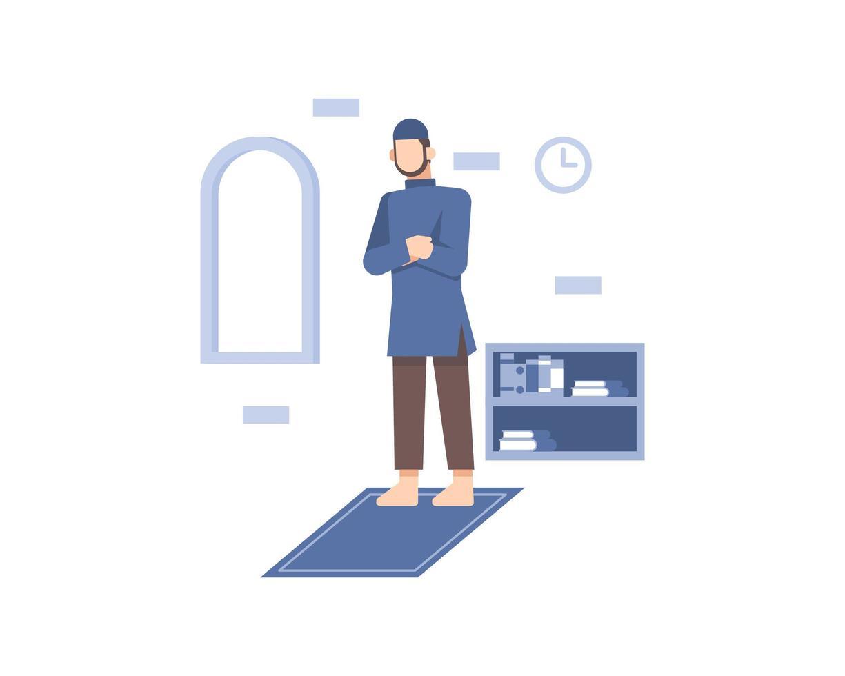 moslim man bidt op gebedskleed vector