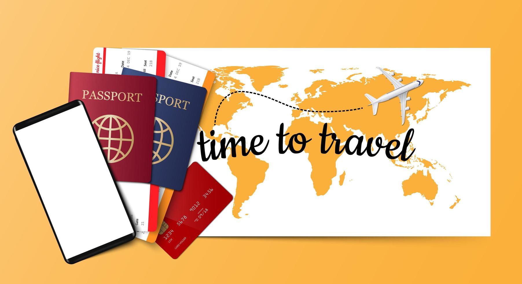 paspoort, tickets, creditcard en smartphone op gele kaart vector