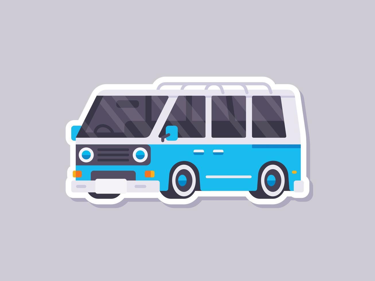 retro bestelwagen sticker in vlakke stijl vector