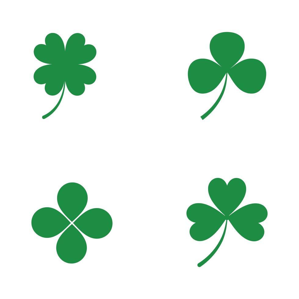 groene klaver pictogramserie vector