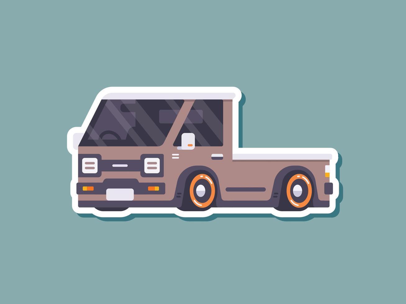 pick-up auto sticker in vlakke stijl vector