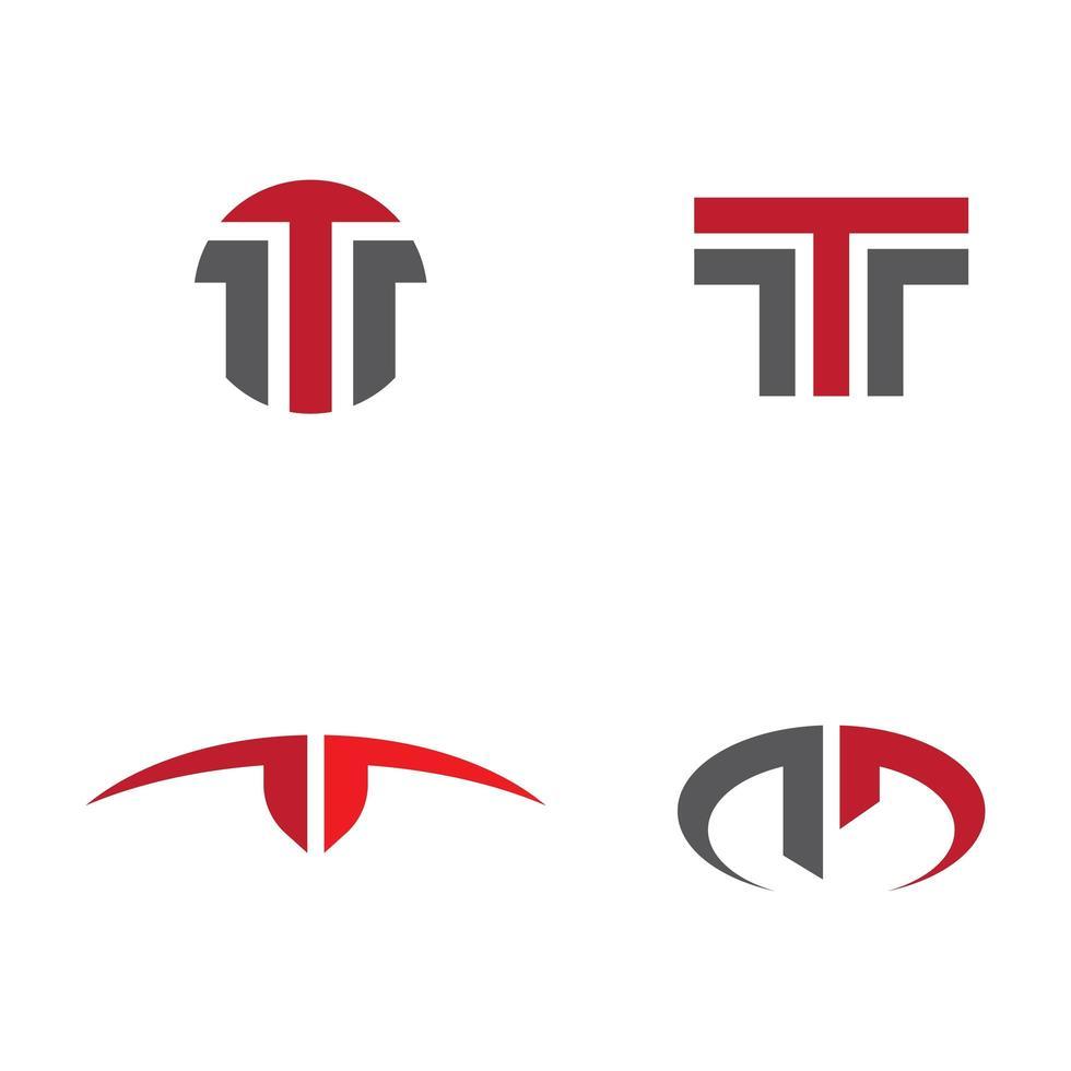 rode en grijze letter t logo set vector