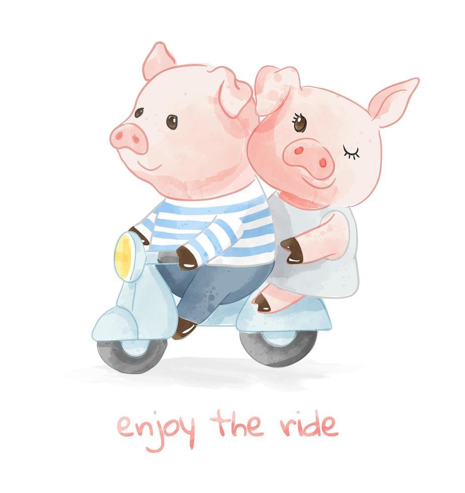liefdevolle varkenspaar bevrijden van scooter vector