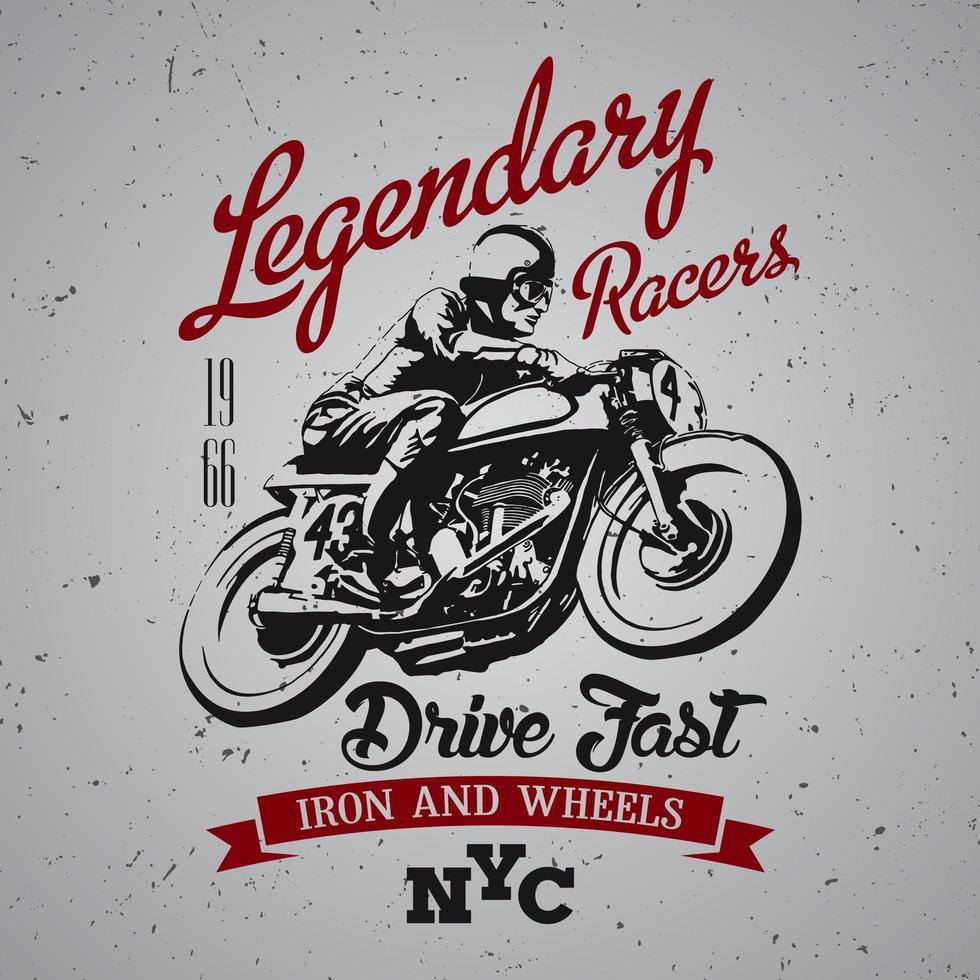 legendarisch racers t-shirtontwerp vector
