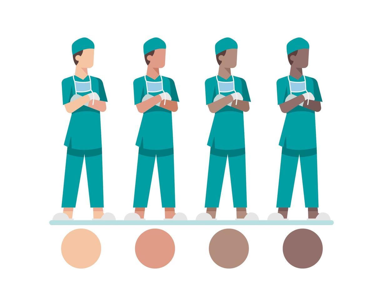 jonge mannelijke verpleegster karakters vector