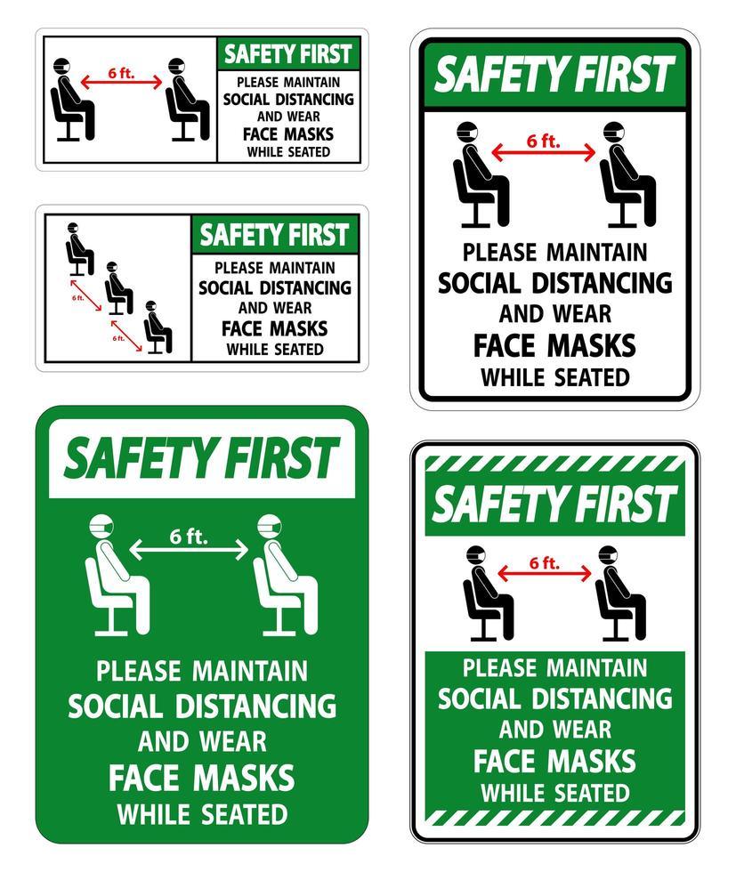handhaaf sociale afstand en draag maskersborden vector