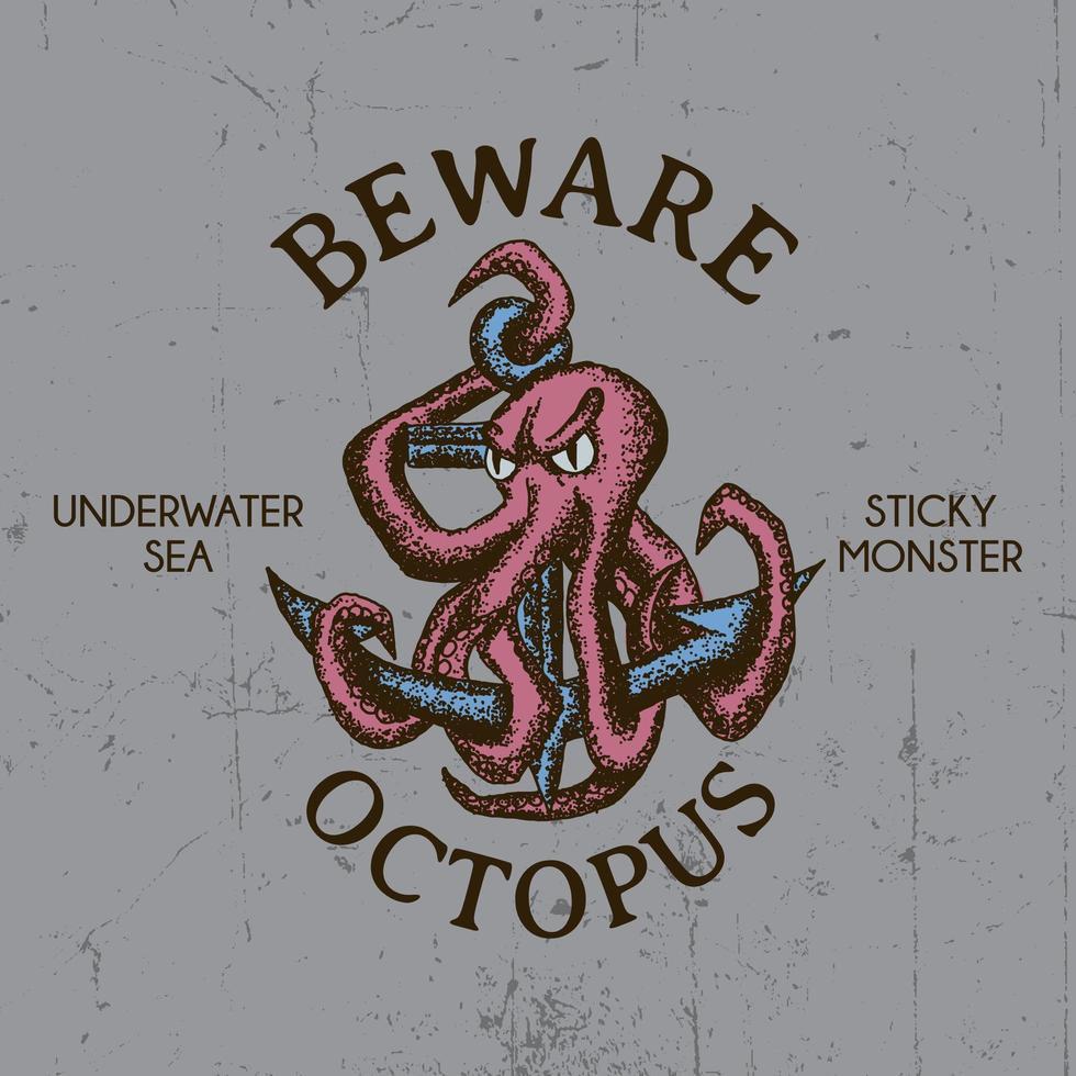 octopus t-shirt ontwerp vector