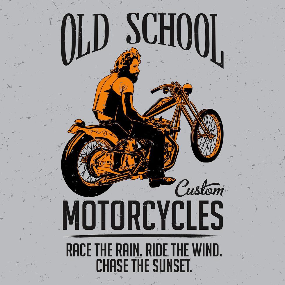 old school motorfietsen t-shirtontwerp vector