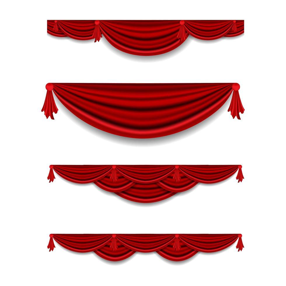 luxe rood gordijn kroonlijst decor set vector