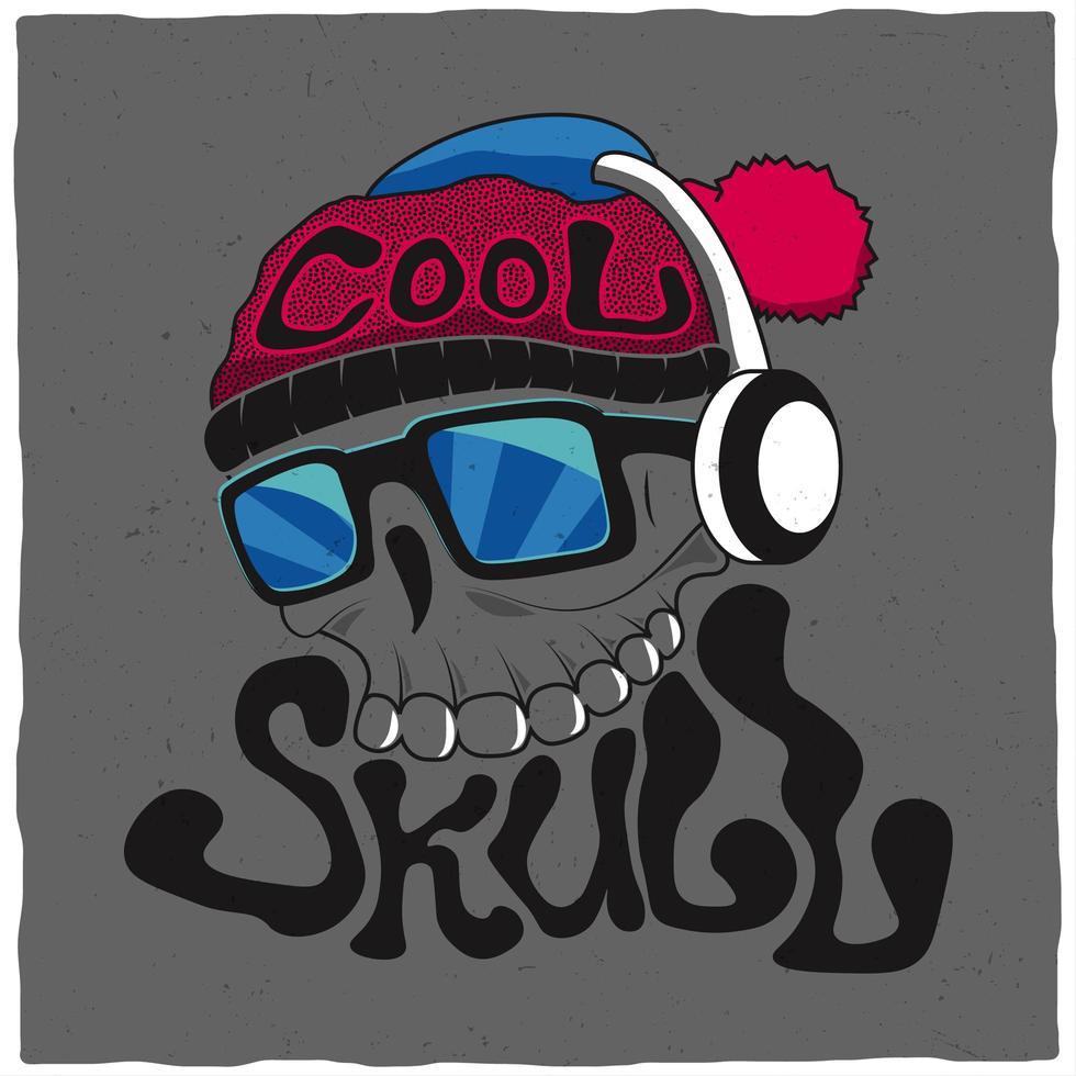 schedel met hoed en koptelefoon t-shirtontwerp vector