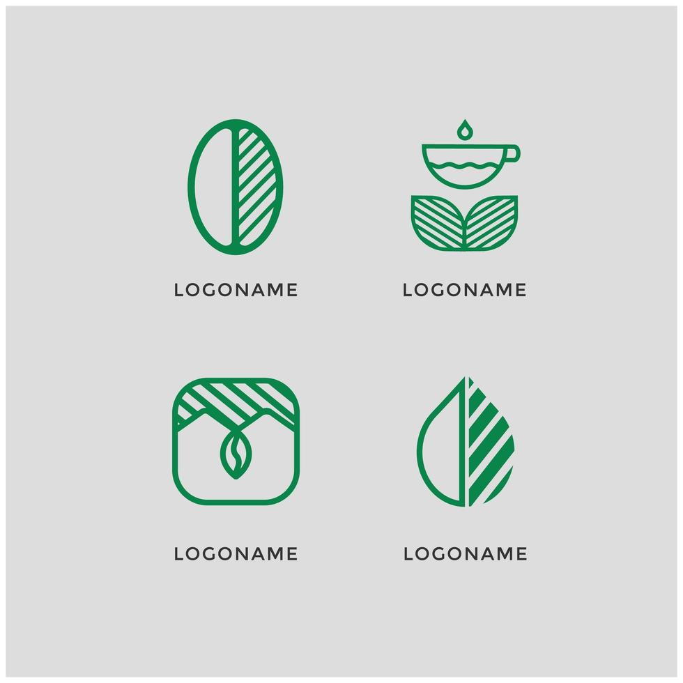 set van groene coffeeshop logo's vector