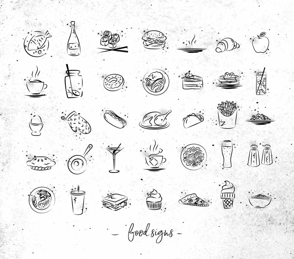 hand getekend voedsel vintage pictogrammen vector
