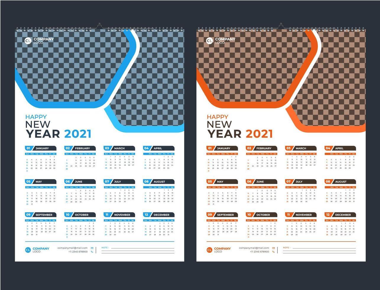blauw en oranje één pagina wandkalender 2021 sjabloon vector