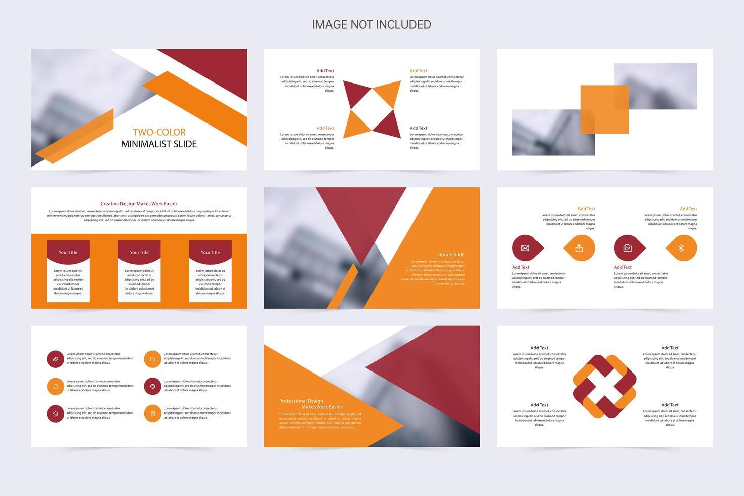 rode en oranje minimalistische presentatiediavoorstelling vector