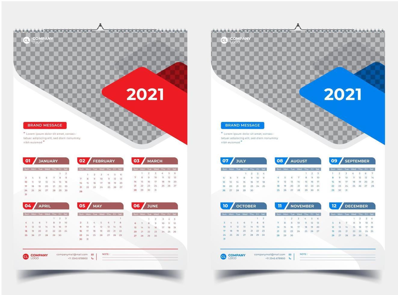 wandkalender 2021 met twee pagina's in rood en blauw accent vector