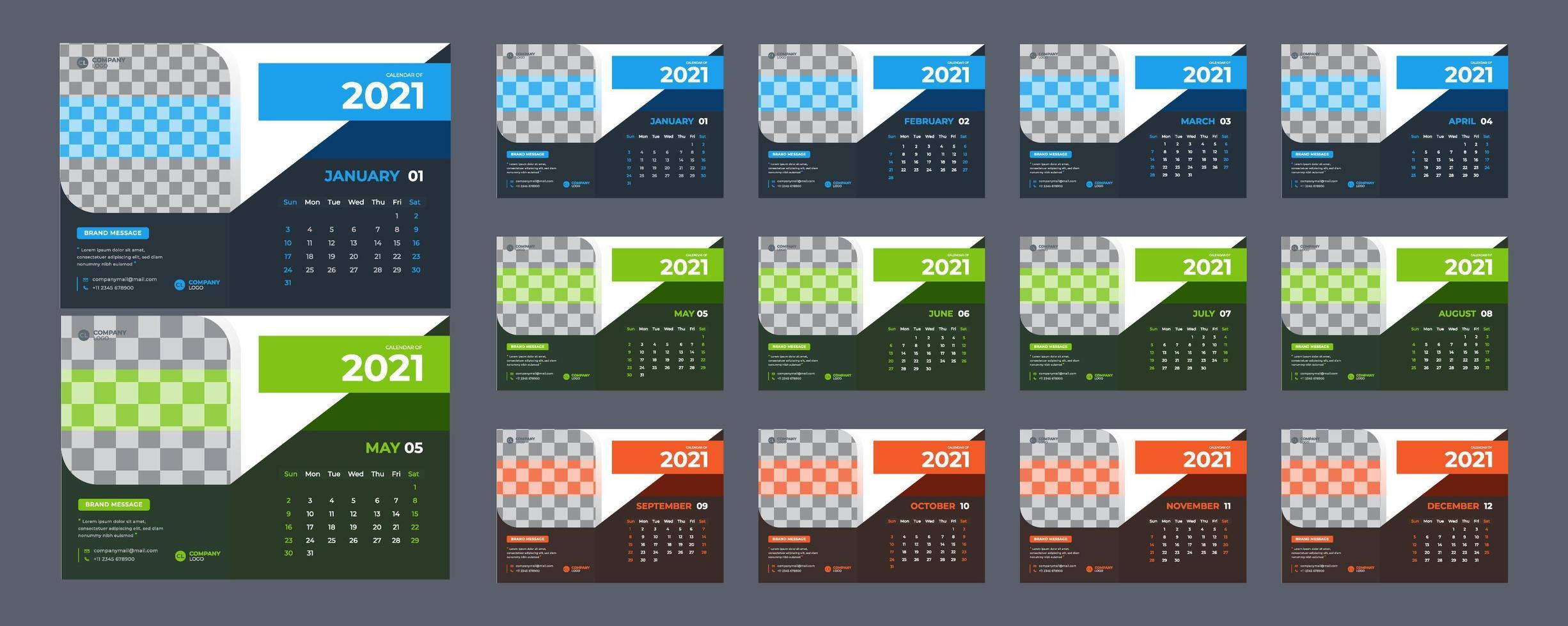 moderne 3-kleuren bureaukalender voor 2021 vector