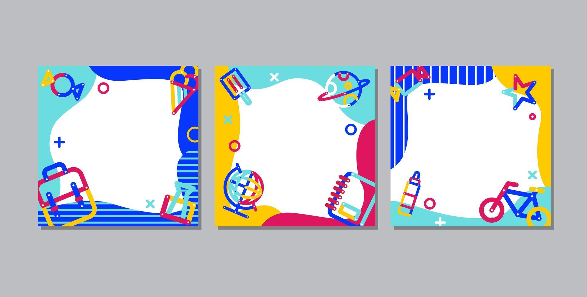 terug naar school, online leren vierkante banner set vector