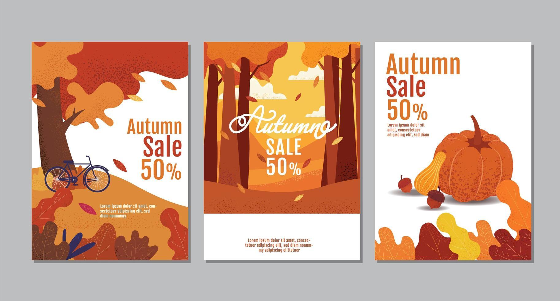 herfst verkoop typografie poster set vector