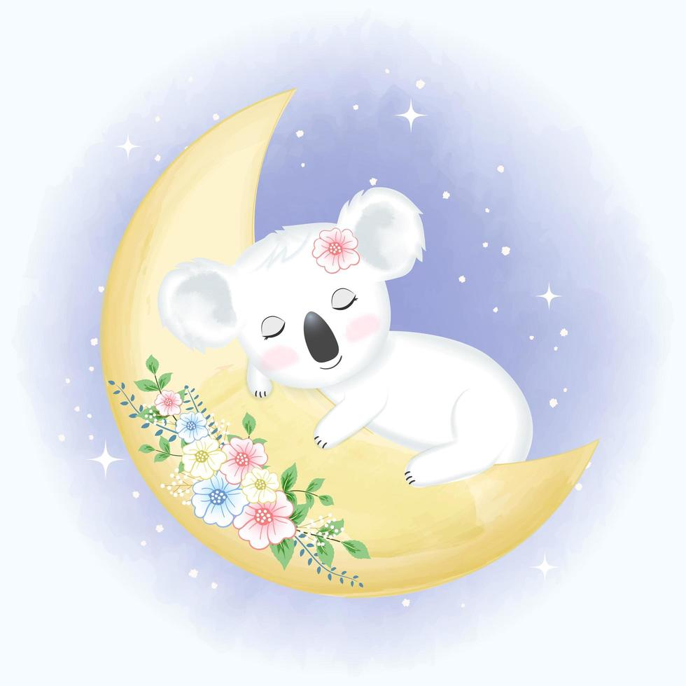baby koala slapen op bloemenmaan vector