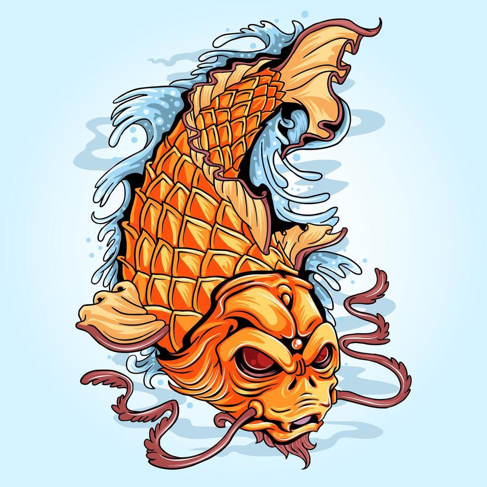 koi vis gouden tattoo kunstwerk vector
