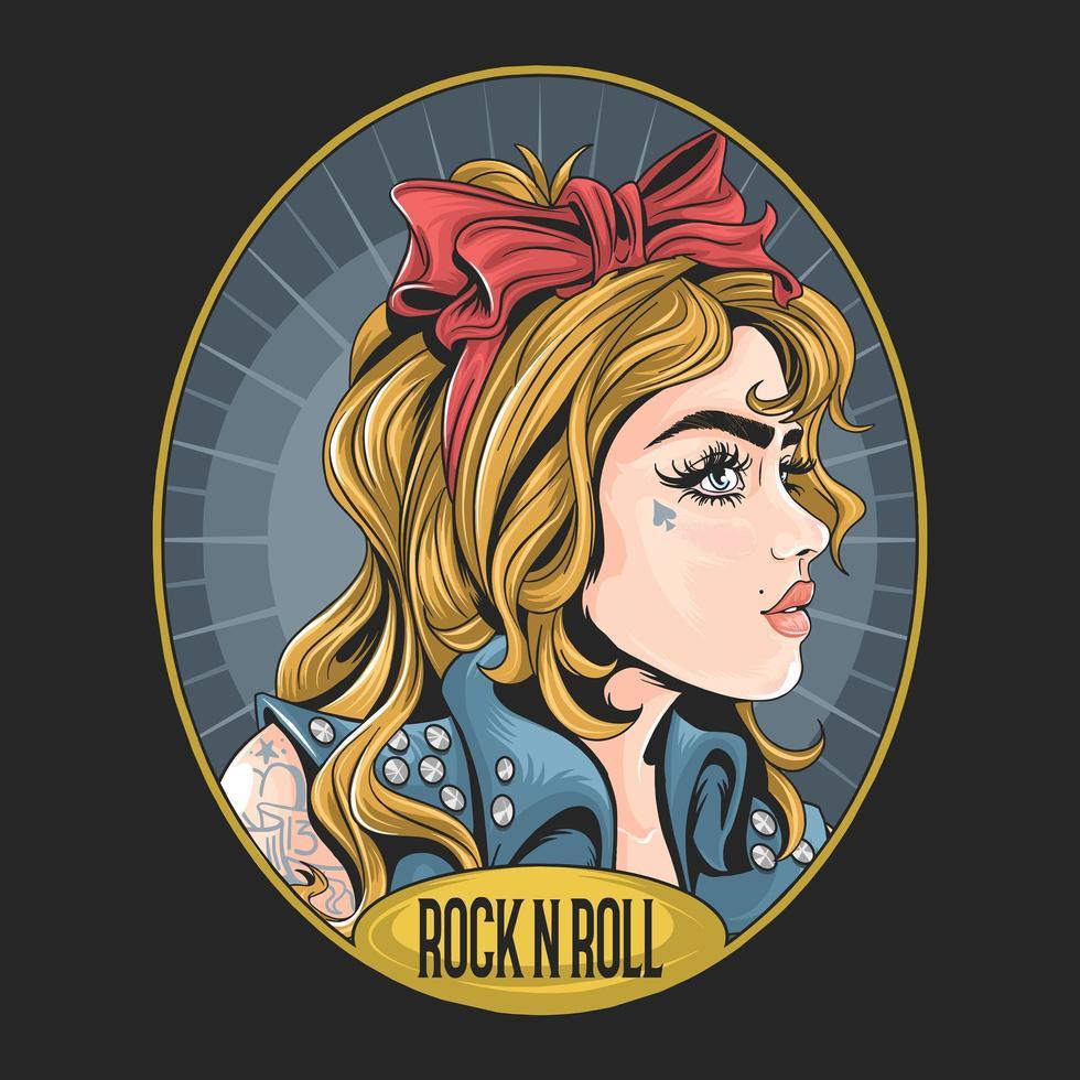 rockabilly meisje met gezicht tatoeage vector
